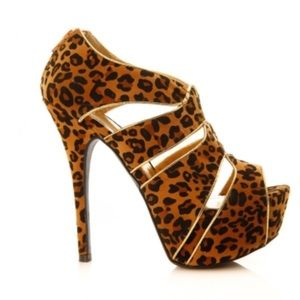 New Women Liliana Leopard Peep Toe Suede Heel